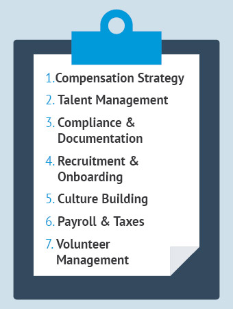 These are the core tasks and activities of most nonprofit HR departments.